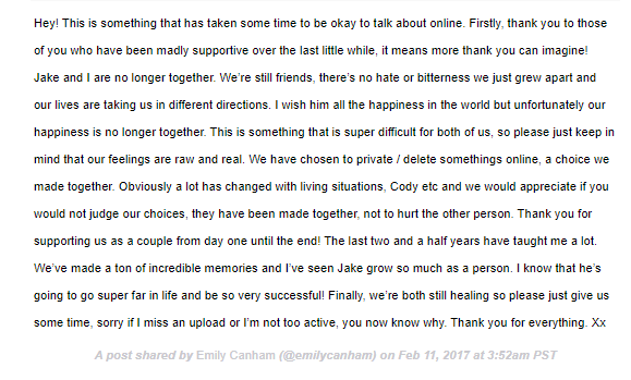 Emily Canham Breakup with Jake Boys Statement Instagram