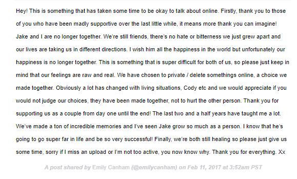 Emily Canham Breakup with Jake Boys Statement Instagram