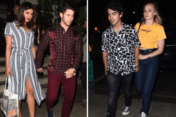 Nick Jonas and Joe Jonas on a double date