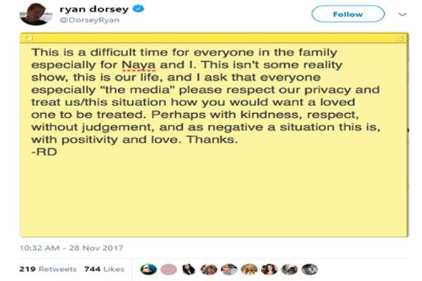 Ryan Dorsey and Naya Rivera Divorce