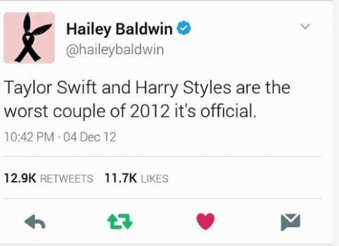 Taylor Swift Hailey Baldwin twitter diss