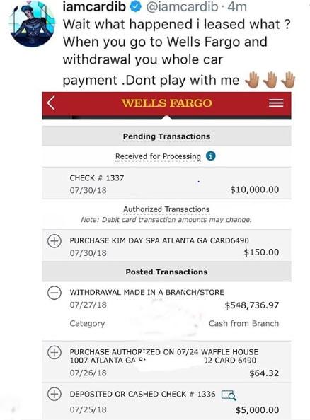 Cardi B's bank account