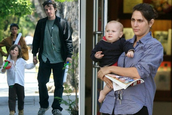 Casey Affleck with son Indiana and Atticus