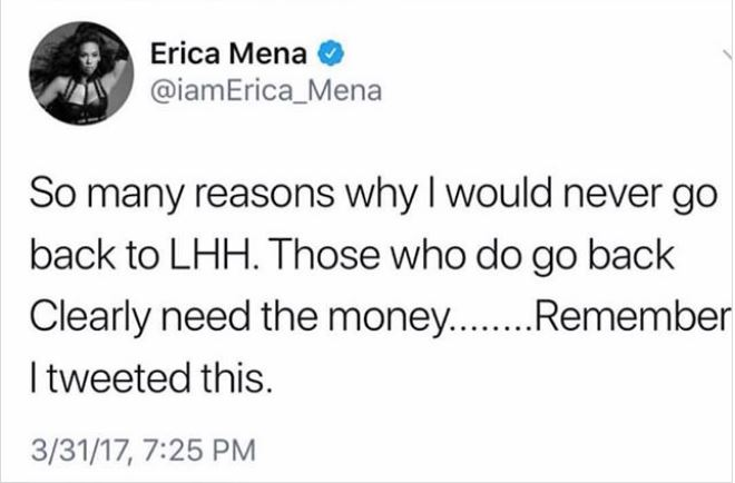 Erica Mena tweets about LAHH