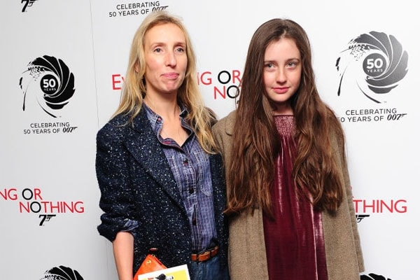 Sam Taylor-Johnson and daughter Angelica in a movie screening