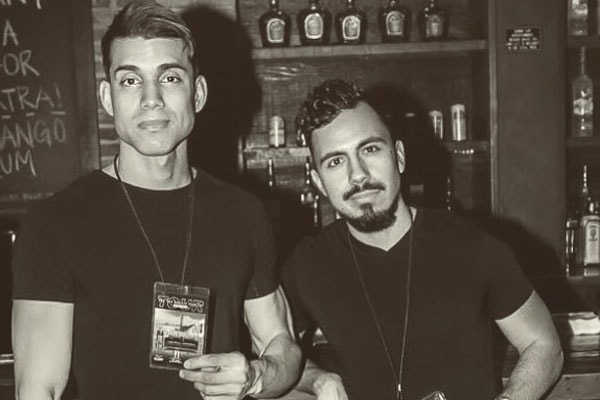 Ruben Sole with his friend in a bar