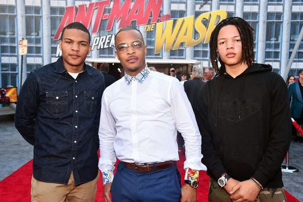 T.I. with his sons Domani and Messiah