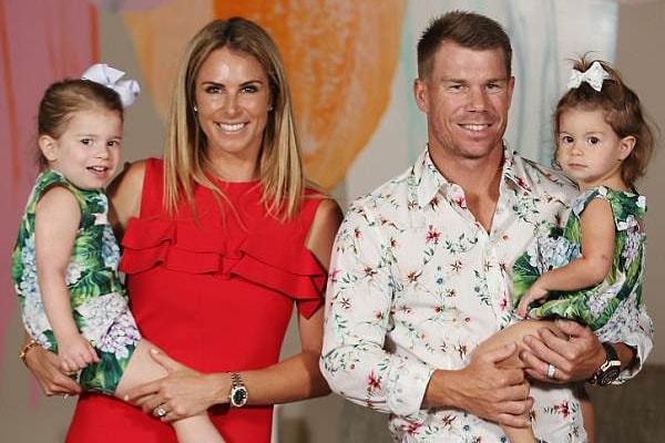 David Warner with wife Candice Warner and daughter Ivy Mae and Indi Rae Warner