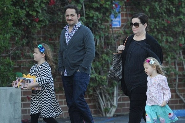 Ben Falcone, wife and two children