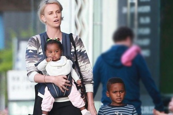 Charlize Theron with her adopted children