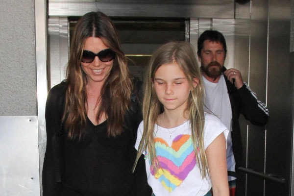 Christian Bale daughter, Emmeline Bale with her mother