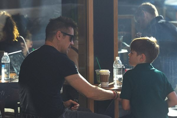 Henry Tadeusz Farrell with his father, Colin Farrell