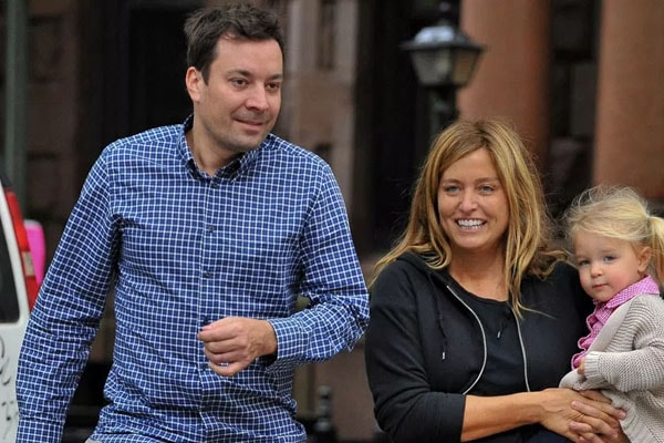Jimmy Fallon with his daughter Winnie Rose Fallon and wife Nancy Juvonen