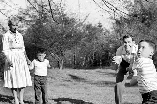 Johnny Carson with son Richard Carson, Christopher Carson and wife Judy Morrill Wolcott