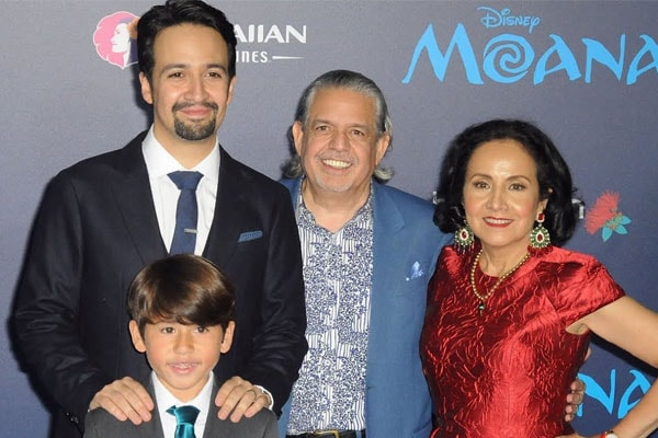 Lin-Manuel Miranda with son Sebastian Miranda and parents, Luis A. Miranda, Jr. and Luz Towns-Miranda.