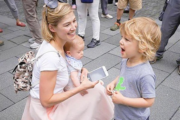 Rosamund Pike with sons- Atom and Solo