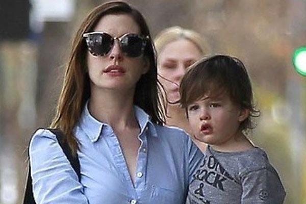 Anne Hathaway with son Jonathan Rosebanks Shulman