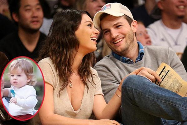 Ashton Kutcher and his wife Mila Kunis with their son Dimitri Portwood Kutcher.