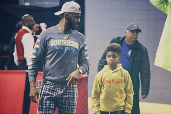Chris Paul with son