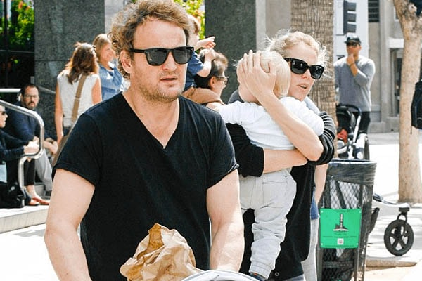 Jason Clarke with his wife Cecile Breccia and their first son