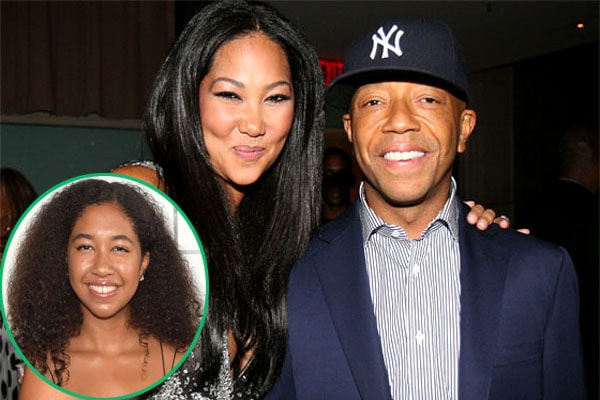 Kimora Lee and her ex-husband Russell Simmons with Aoki Lee Simmons