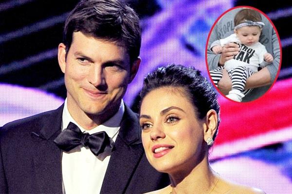 Mila Kunis and Ashton Kutcher with their son Dimitri Portwood Kutcher