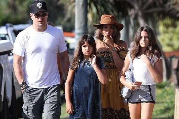 Matt Damon with family