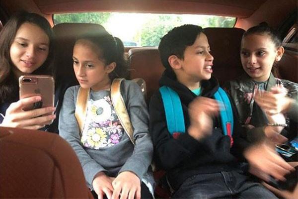Jennifer Lopez's son Maximilian David Muñiz with his sisters.