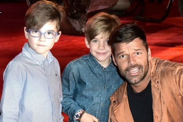 Ricky Martin and his twin sons Valentino Martin and Matteo Martin