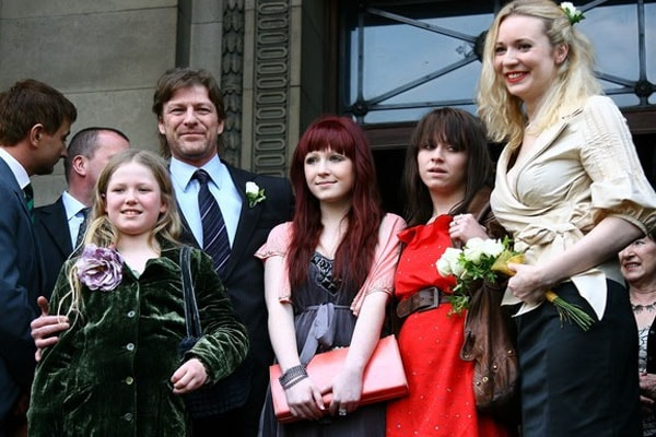 Abigail Cruttenden with her ex-husband Sean Bean with his daughters including Evie Natasha Bean