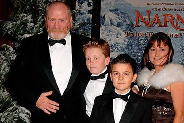 James Cosmo's sons; Findlay Cosmo and Ethan Cosmo with his wife Annie Harris