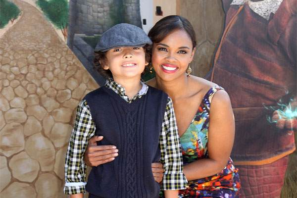 Sharon Leal with her son