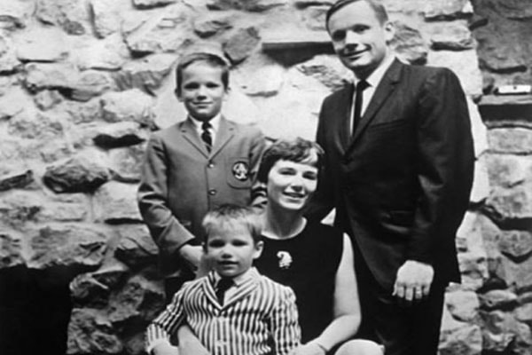 Neil Armstrong with his ex-wife Janet Shearon, along with his two sons; Mark and Eric Armstrong