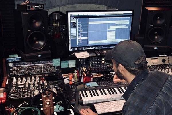 Rosanne Cash's son Jakob William Leventha in the studio