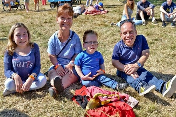 Warwick Davis with his family including his wife Samantha Davis