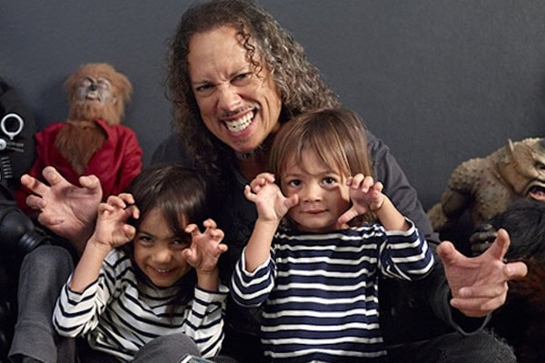 Kirk Hammett with two sons