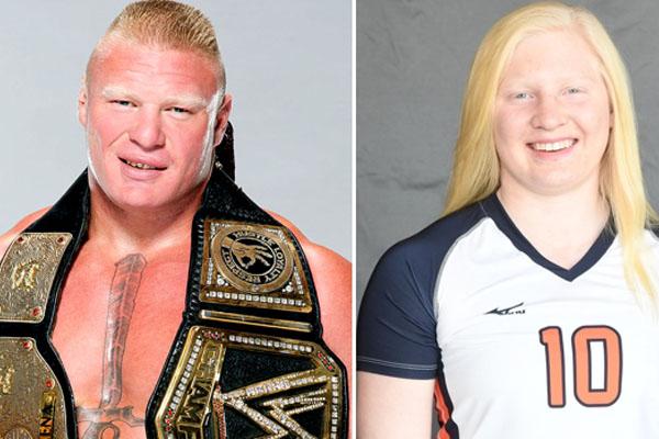 Professional wrestler Brock Lesnar and his daughter Mya Lynn Lesnar