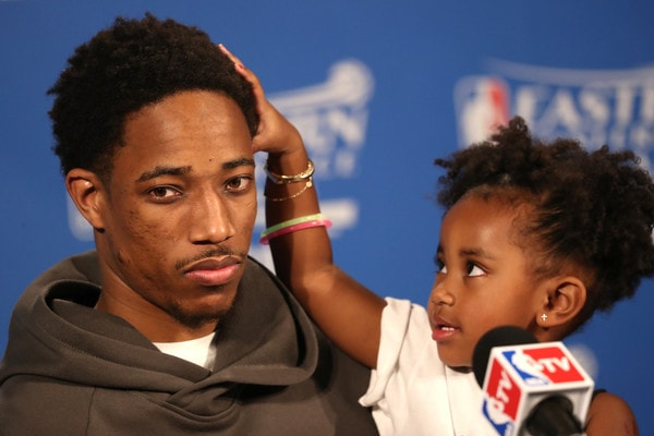 DeMar DeRozan with his daughter Diar DeRozan