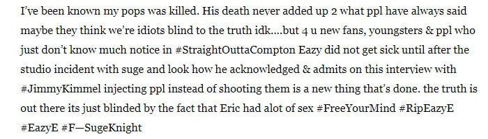Eazy Yung claims his father was killed
