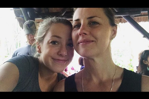 Madison Wahlberg with her mother