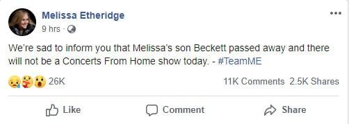 Melissa Etheridge's son's death
