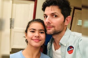Adam Scott's Daughter Frankie Scott, With Naomi Scott